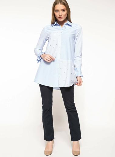 DeFacto İnci Detaylı Gömlek Tunik Mavi